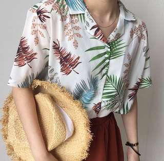 Summer Floral Hawaii Boxy Top
