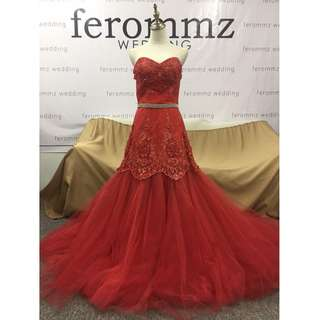 Red Bridal Evening Gown