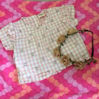 Crop top blouse fits 3T-4T