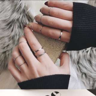 minimalist silver ring set