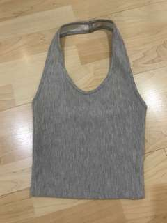 Topshop Gray Ribbed Halter Crop Top