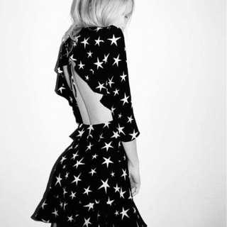 <現貨>歐美風星星大露背荷葉邊小洋裝