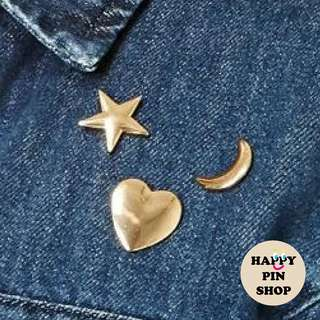 Simple Star, Heart, Crescent Moon shape metal pins