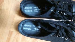 2 pairs of unisex black sch shoes.