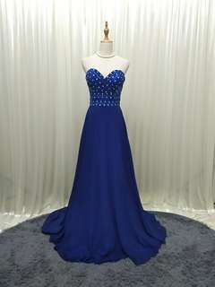ROYAL BLUE evening gown dinner dress maxi prom tailed (about M)