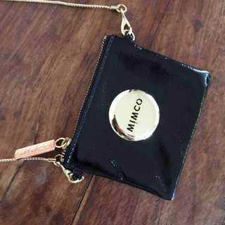 🔥 SALE 🔥 Mimco Black Patent Leather Coin Pouch with Gold Strap
