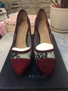Wine colour black lace heels