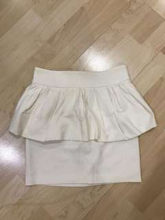 Zara White Peplum Skirt