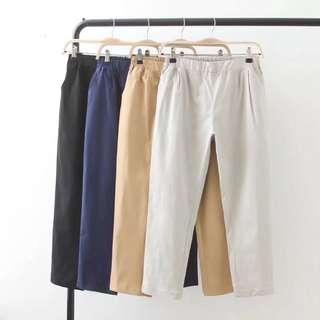 (XL~4XL) High waist pants female harem pants Korean loose nine casual pants