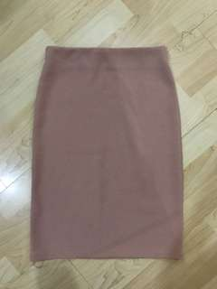 Dusty Pink Ribbed Pencil Skirt