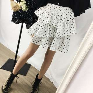 韓國 敲萌百搭 可愛波點風層層花擺設計半身裙 俏皮荷葉邊短裙潮