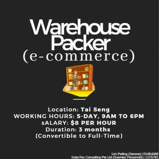 Warehouse Packer ($8 per hour / Tai Seng /3mths)