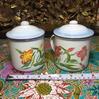 Enamel Mug With Lid $25 for both
