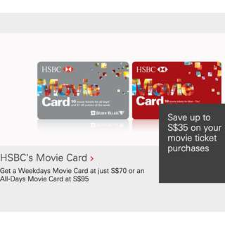 HSBC's Movie Cards (save up to $3.5 per ticket; 27% OFF)