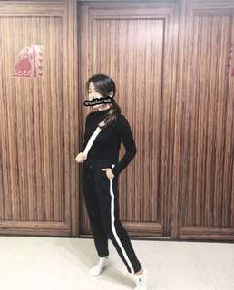 High-necked Long Sleeve Top & Jogger Pants