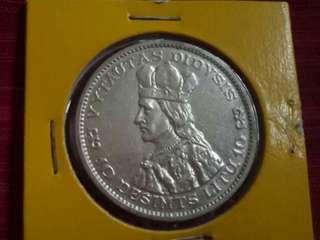 *Silver* Lithuania 1936. 10 Litu