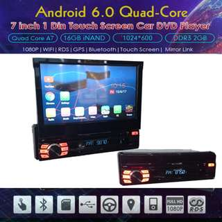 "Universal 1 DIN Android 6.0 OS Quad Core 7"" DVD Multimedia AV Receiver"