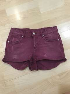 H&M Maroon Denim Shorts