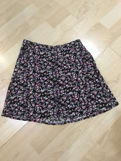 H&M Floral Skirt with Buttons