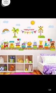 Cute Cartoon Animal Train Wall Stickers Kindergarten Children Room Boy Bedroom Decorative Wall Stickers Home decor