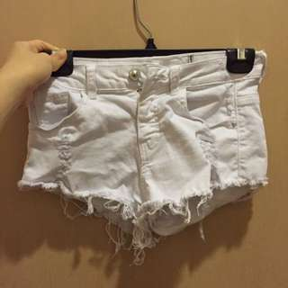 (QYOP) Bershka White Denim Low Waist Shorts