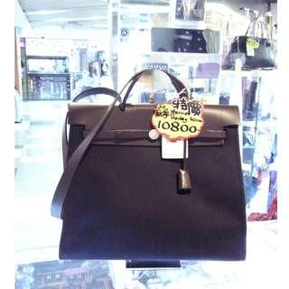 Hermes Brown Leather / Black Canvas Classic Herbag 40cm Shoulder Hand Bag 愛馬仕 深啡色 牛皮 皮革 / 黑色 帆布 經典款 40公分 手挽袋 手袋 肩袋 袋