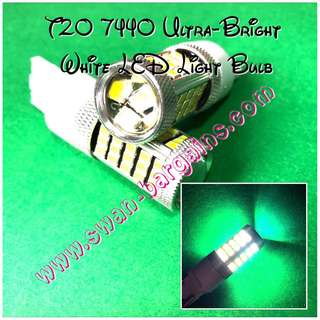 Ultra-Bright White T20 W21W 7440 3156 66 SMD Single Voltage Source LED with Projector Lens Light Bulb Reverse Running Signal Turning Lights Replacement