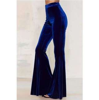 DARK BLUE VELVET BELL BOTTOMS