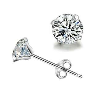 925 Sterling Sliver round diamond stud earring
