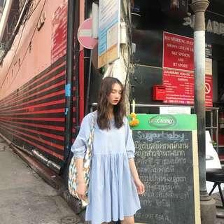 甜美學院風寬鬆顯瘦袖口繫帶高腰短袖連衣裙女夏中長款娃娃裙(2色)