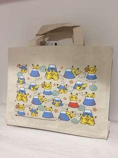Pokemon Center 日本店鋪限定  富士山 皮卡丘硬挺帆布袋 環保購物包