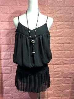 🚚 黑色雪紡造型背心裙裝