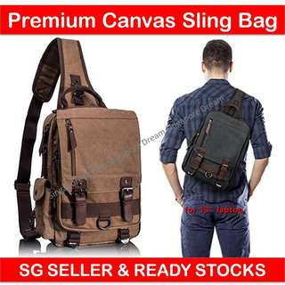 Premium Large Canvas Sling Bag - Outdoor Travel Shoulder Cross Body Messenger Backpack Bag fit iPad