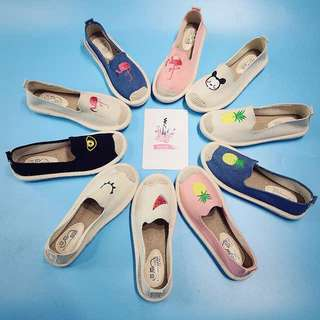 Ladies Cute Embroidered Slip On Loafers