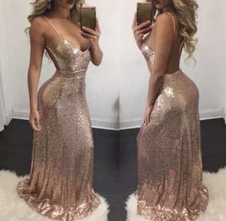 Sequin Ball Dress Low Back
