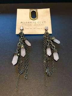 Rose quartz earrings Gunmetal