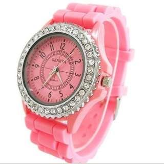 Pink diamante watch
