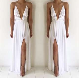 White Multi Tie Ball Dress
