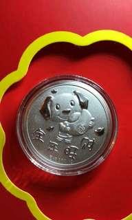 香港正生銀飾狗狗限量銀幣4枚一組