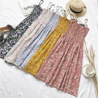 Floral ruffled tube summer dress
