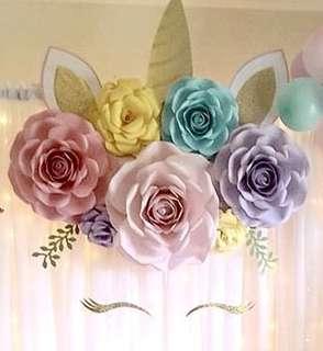 Unicorn Party Backdrop Paper Flowers