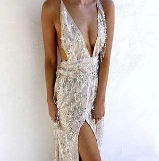 Silver Sequin Tassel Ball Dress