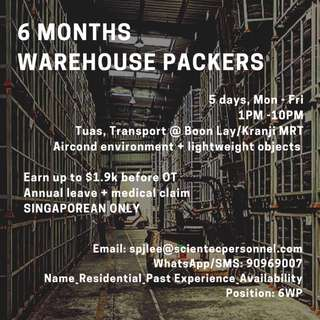 x10 Warehouse Packers (6 months) - 5 days | Tuas