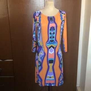 Printed Orange Bondage 3/4 Sleeve Dress