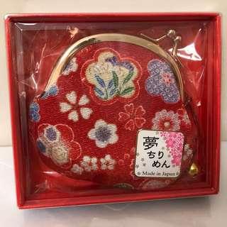 全新 日本製 和風 散紙包 小銀包 紅色