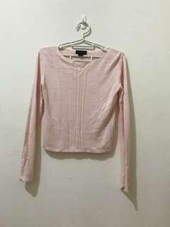 🚚 針織長袖百搭淡粉色短版上衣
