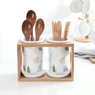 森林款 兩位陶瓷餐具收納架