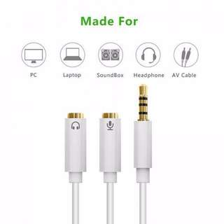 ★★ 3.5mm Metal Aux Cable 2 Female (Mic / Headset ) to Male Headphone Earphone Audio Cable Adapter ★★  Connected Cord to Laptop / PC ★★ Silver ★★