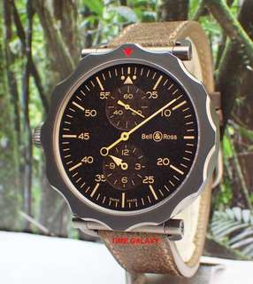 Preowned BELL & ROSS WW2 REGULATEUR HERITAGE 49mm Automatic Grey PVD Watch Ref : BRWW2-REG-HER/SCA. Swiss Made