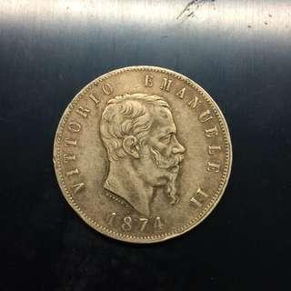 Italy 1874 silver 5 Lire coin